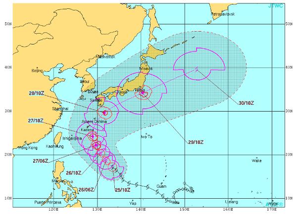 引用元:米軍合同台風警戒センター